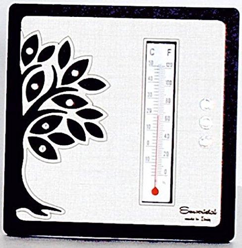 Termometro albero della vita in legno wenge' misura 13x13 cm | termometro ambiente bomboniere per matrimonio nascita comunione e idee regalo casa e coppia
