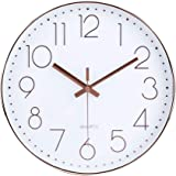 jomparis 12 Inch Modern Wall Clock Silent Non-Ticking Quartz Sweep Decorative Battery Operated Wall Clocks for Home Living Ro