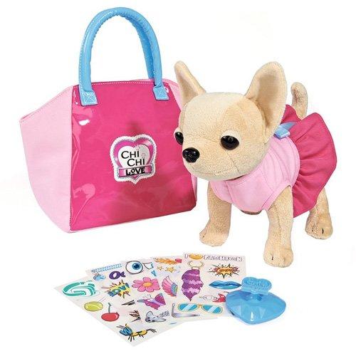 Simba 105892313 - Chi Chi Love Plüschhund 20 cm mit Tasche zum selbst gestalten