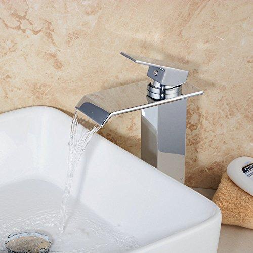 Hiendure® Contemporaneo Deck Mount Ottone Cascata Lavandino del bagno Rubinetti finitura cromata