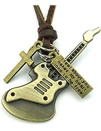 KONOV Schmuck Herren Damen Halskette, Gitarre Kreuz, Verstellbaren Größen Legierung Anhänger mit Leder Kette, Braun