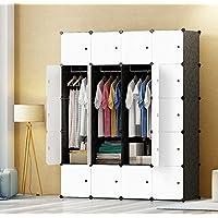 Premag DIY Portable Wardrobe Closet, Modular Storage Organizer, Space Saving Armoire, Deeper Cube With Hanging Rod