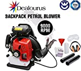 Dealourus 2019 75cc Petrol Backpack Leaf Blower, Extremely Powerful – 210MPH Lightweight With New and Improved Padded Support Straps For Maximum Comfortability