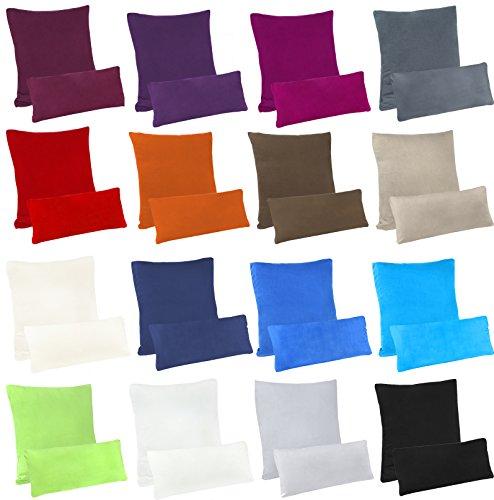 leevitex Farbenfrohe 2er Pack hochwertige Jersey Kissenbezüge Kissenhülle Seitenschläferkissen (2er Pack 40x80 cm, Sand/Cappuccino)