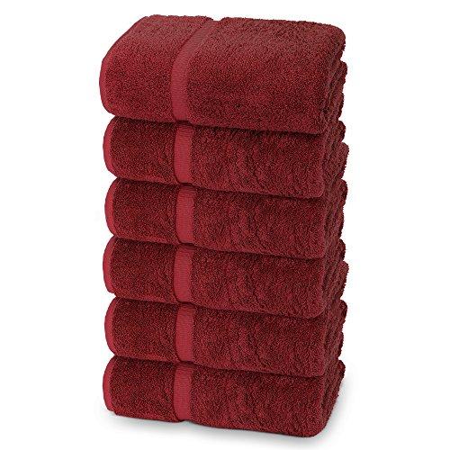 Indulge Leinen, extra weich, Dobby-Bordüre, 100% türkische Baumwolle, Baumwolle, rubinrot, Hand Towels - Set of 6
