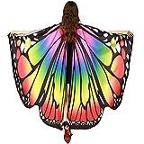 WOZOW Damen Schmetterling Flügel Kostüm Faschingkostüme Umhang Schals Nymphe Pixie Poncho Kostümzubehör Zubehör (Mehrfarbig 2)