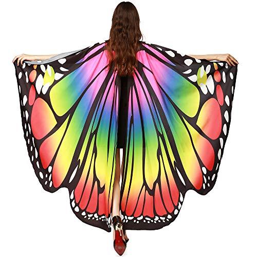 (WOZOW Damen Schmetterling Flügel Kostüm Faschingkostüme Umhang Schals Nymphe Pixie Poncho Kostümzubehör Zubehör (Mehrfarbig 2))