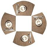 SHACOS Keilförmige Platzsets 4er Set,PVC gewebte Tischsets,Abwaschbar Hitzebeständig Schmutzabweisend und Haltbar,Platzmatten für küche Speisetisch (Bambus Tan,4)