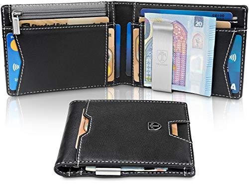 TRAVANDO Geldbeutel Männer mit Geldklammer Moscow Slim Portemonnaie Wallet Portmonaise Herren Geldbörse Geldtasche klein Portmonee RFID Schutz Kreditkartenetui Brieftasche Kartenetui Geschenk