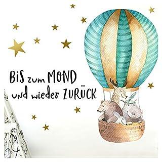 Little Deco Aufkleber Waldtiere im Heißluftballon & Spruch Bis zum Mond I S - 62 x 32 cm (BxH) I Wandbilder Wandtattoo Kinderzimmer Tiere Deko Babyzimmer Junge DL186