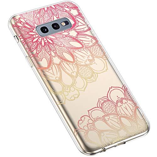 Uposao Kompatibel mit Samsung Galaxy S10e Handyhülle Transparent mit Muster Motiv TPU Silikon Schutzhülle Case Crystal Clear Handytasche Dünn Stoßfest Bumper Backcover,Rot Henna Blumen
