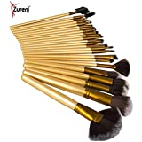 Zureni 32Pcs/Set Pro Makeup Brush Set & Kit Professional Makeup Tool Kit Cosmetic Makeup Brushes - Golden