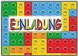 12-er Set Lustige Einladungskarten zum Kindergeburtstag Bausteine Bauklötze Party Geburtstag Einladung witzig cool Text Kinder Jungen Mädchen Steine Baustelle Bagger Jungs Rot Gelb Grün Blau