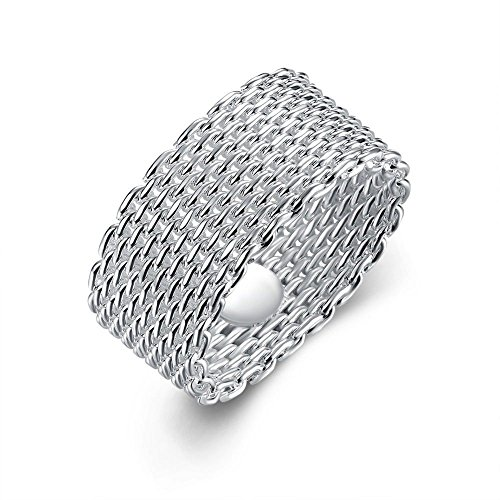 (R) - Designer Inspired Mesh Woven Ring Sterling Silver 925 -
