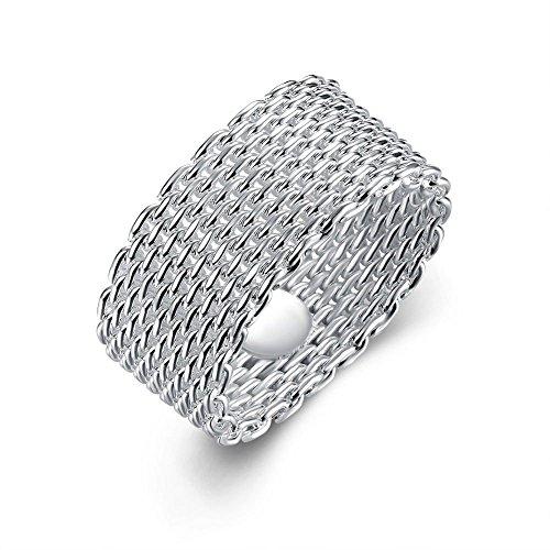 (R) - Designer Inspired Mesh Woven Ring Sterling Silver 925