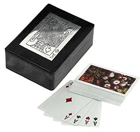 Bois boîte de cartes à jouer pour le stockage - détenteur de la carte de jeu avec le pont de la carte - jeux de cartes - 3,81 x 11,43 x 8,89 cm