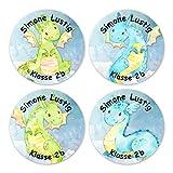 Papierdrachen 24 individuelle Aufkleber für Kinder - Motiv Drachen - personalisierte Sticker - Perfekt zur Einschulung - Geschenk für die Schule - Namensaufkleber und Schulbuchetiketten