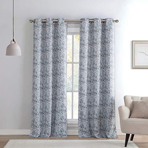 Kensie Bedruckt Verdunkelung Abdunkelung Fenster Vorhang Set von 2Panels, Silber, 38x 96 (Fenster 96 Vorhänge)