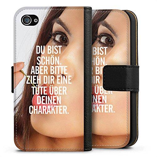 Apple iPhone X Silikon Hülle Case Schutzhülle Charakter Sprüche Statement Sideflip Tasche schwarz