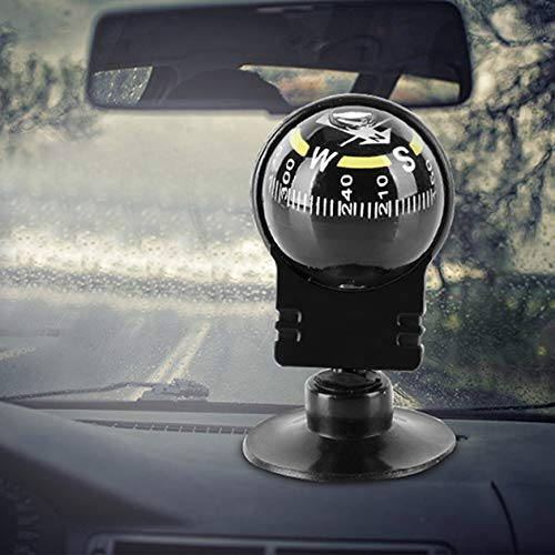 Compas de Direction Pratiques mont/és sur v/éhicule Compas adh/ésifs Outil de Guidage de Direction ext/érieure Bille sph/érique Automatique Noir