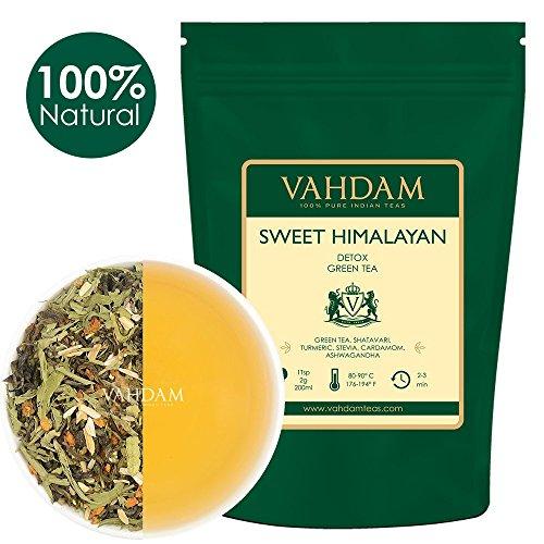 Tee-set Indische (Süßer Himalayan Detox Grüner Tee Blätter (100 Tassen) - Stevia, Kurkuma, Shatavari, Kardamom, indischer Ginseng, 100% NATÜRLICHER DETOX TEE, SLIMMING TEA & GEWICHT VERLUST TEE, in Indien verpackt, 200gm)