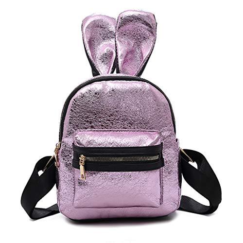 JERKKY Mode Frauen Mädchen Niedlichen Kaninchen Ohr Mini Rucksack Schultasche Rucksack Lila Große