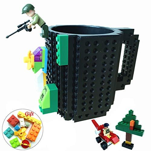 rick Mug DIY Brick Tasse DIY Kaffeetasse Kreative Baustein Kaffee Tee Trinken Spaß Trinken Geschenk (Schwarz) ()