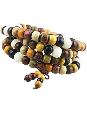 Shanxing 108 Perlen Holz Yoga Armband Schmuck Buddha Buddhistische Tibetische Gebetskette Mala Kette Elastisch...