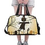 Halloween erschrocken Mond Vogelscheuche benutzerdefinierte große Yoga Gym Totes Fitness Handtaschen Reise Seesäcke mit Schultergurt Schuhbeutel für Übung Sport Gepäck für Mädchen Mens Womens Outdoor