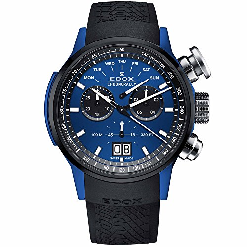 Edox Men's Chronorally 48mm Rubber Band Swiss Quartz Watch 38001 TINBU1 BUIB1