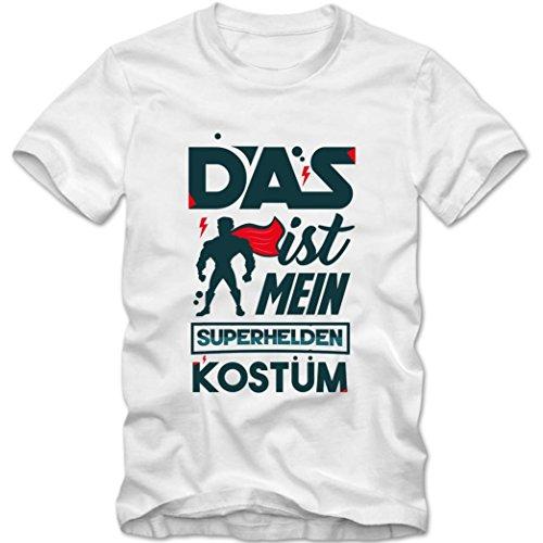 (Verkleidung Superheld Premium T-Shirt   Kostüm   Karneval   Fasching   Kinder   Shirt, Farbe:Weiß (White L190k);Größe:4 Jahre (96-104 cm))