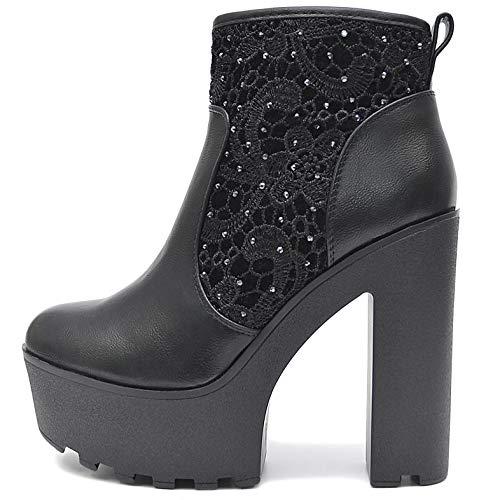Vain Secrets Damen Chelsea Plateau Boots Stiefeletten mit Absatz Profil Sohle (38 EU, Schwarz M11)