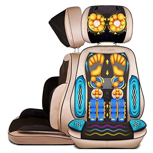 SHISHANG Massage-Stuhl mit Wärme-Massage-Matte Mechanische Hand-Linie Control abnehmbar (Hals / Taille / Schulter-Massage-Pad / Home Multifunktions-Massage-Kissen) Gold Gold (Stuhl-massage-stühle)