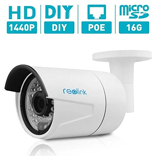 Reolink RLC-410S 4 Mega Pixels HD PoE Bullet IP Security Camera,16G Micro SD Card Built-in, Night Vision,Waterproof,Fixed Lens Security Camera, Email Alert, Motion Detection, Remote Access,Home Surveillance,Day/Night, Plug and Play, DIY,No Need Power adapter (Power Feed-adapter)
