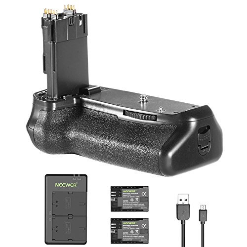 Neewer Battery Grip (Grip de Remplacement pour Canon BG-E14) et 2 Pièces 2000mAh LP-E6 LP-E6N Batterie de Remplacement avec Micro USB Chargeur de Double Entrée pour Canon EOS 70D 80D Caméra DSLR