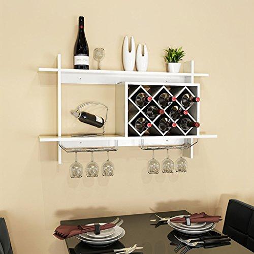 Mensole da parete mensola per il vino in legno massello con portabottiglie in metallo massiccio per bancone bar (colore : bianca, dimensioni : 100x20x58.5cm)
