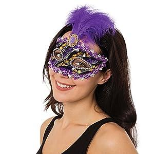 Bristol EM103 - Máscara de ojos con piedra para mujer, color morado, negro y dorado, talla única