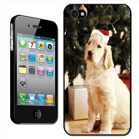 Fancy A Snuggle Coque arrière rigide détachable pour iPhone 4/4S Apple Motif chien avec toque de Père Noël prêt à ouvrir ses cadeaux