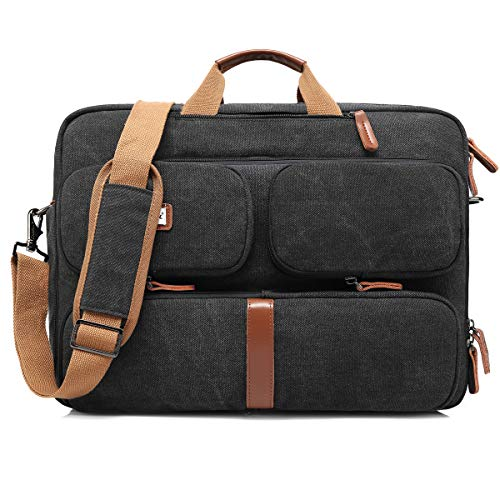 CoolBell Convertible Laptop Tasche Rucksack Messenger Bag Umhängetasche Business Aktentasche Multifunktions Reiserucksack 17,3 Zoll Laptop Tasche für Herren Damen Canvas Black 17.3 Inches