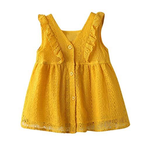 y Mädchen Kleid Spitze Rüschen Kleider Ärmellos Taste Hohl Prinzessin Sommerkleid Urlaub Outfit Kleidung ()