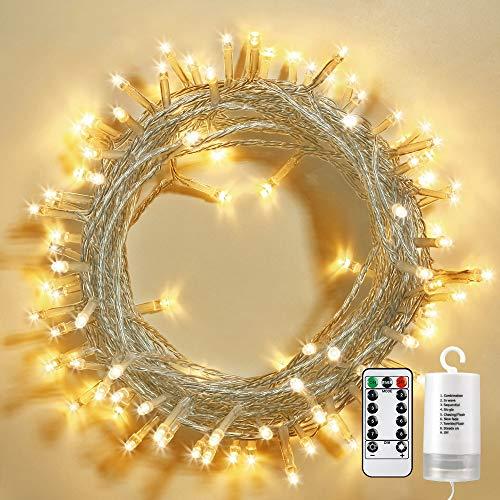 Qedertek Lichterkette Außen Batterie, 100 LED Outdoor Lichterkette Batterienbetrieben Warmweiß, 8 Modi, IP65 Wasserdicht, Timer, Fernbedienung, Außenbeleuchtung für Garten, Weihnachten, Hochzeit