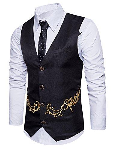 Boom Fashion Gilet de Costume pour Homme Casual Mariage Business Broderie Veste sans Manche - Noir - Taille M