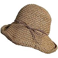 Weimay Plegable Sombrero de Playa Sombrero de Mano Transpirable Visera Visera de la Cara para Mujeres Deportes al Aire Libre (Khaki)