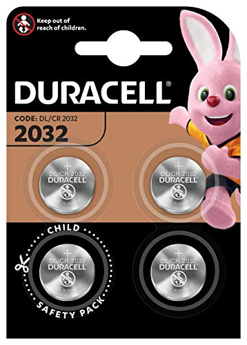 Duracell 2032 Batteria Bottone al Litio 3 V, Specialistica Elettronica, CR2032, Confezione da 4 (DL2032/CR2032), per l'Uso su Chiavi con Sensore, Bilance, Elementi Indossabili e Dispositivi M