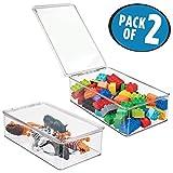 mDesign Spielzeugaufbewahrung – Aufbewahrungsbox mit Deckel zum Spielsachen verstauen im Regal oder unter dem Bett – transparent - 2er-Set