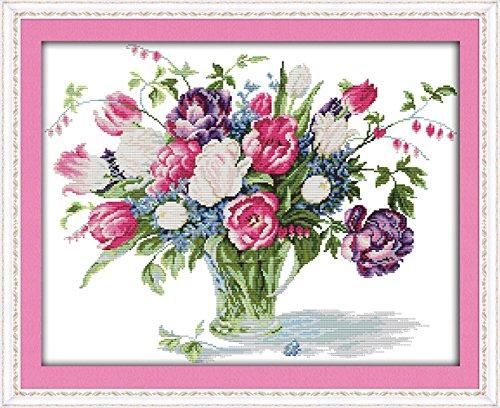 YEESAM ART Neu Kreuzstich Stickpackung - Tulpe Blume Vase 14 CT 52×42 cm DIY Stickerei Set Weiß...