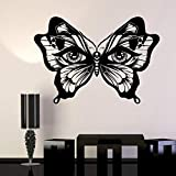 YuanMinglu Insect Butterfly Vinyl Wall Decal Eye Art Deco Sticker Mujer Negro 66x42cm