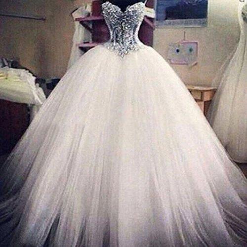 Changjie Donna Abiti Da Sposa Principessa 2017 Perline lungo Abiti Da Sposa Pizzo Bianco