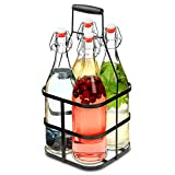 bar@drinkstuff Korb mit Bügelverschluss Glasflaschen mit Bügelverschluss-Flaschen, Metall, Glas, Metall, 1l, 4Stück