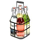 bar@drinkstuff Glasflaschen mit Metallkorb, 1 l, 4 Stück